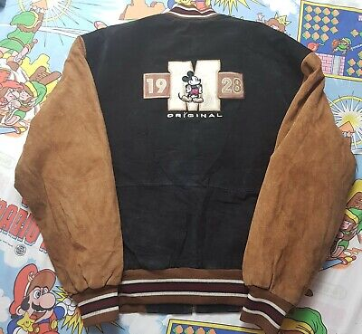 90s Vintage Disney Store Mickey Mouse Suede Leather Varisty Bomber Jacket