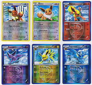 EEVEE +EVOLUTION Flareon, Vaporeon, Espeon, Jolteon REVERSE HOLO Pokemon cards