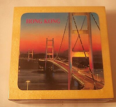 Set of 6 Hong Kong Scenery Coasters in Wood Storage Box
