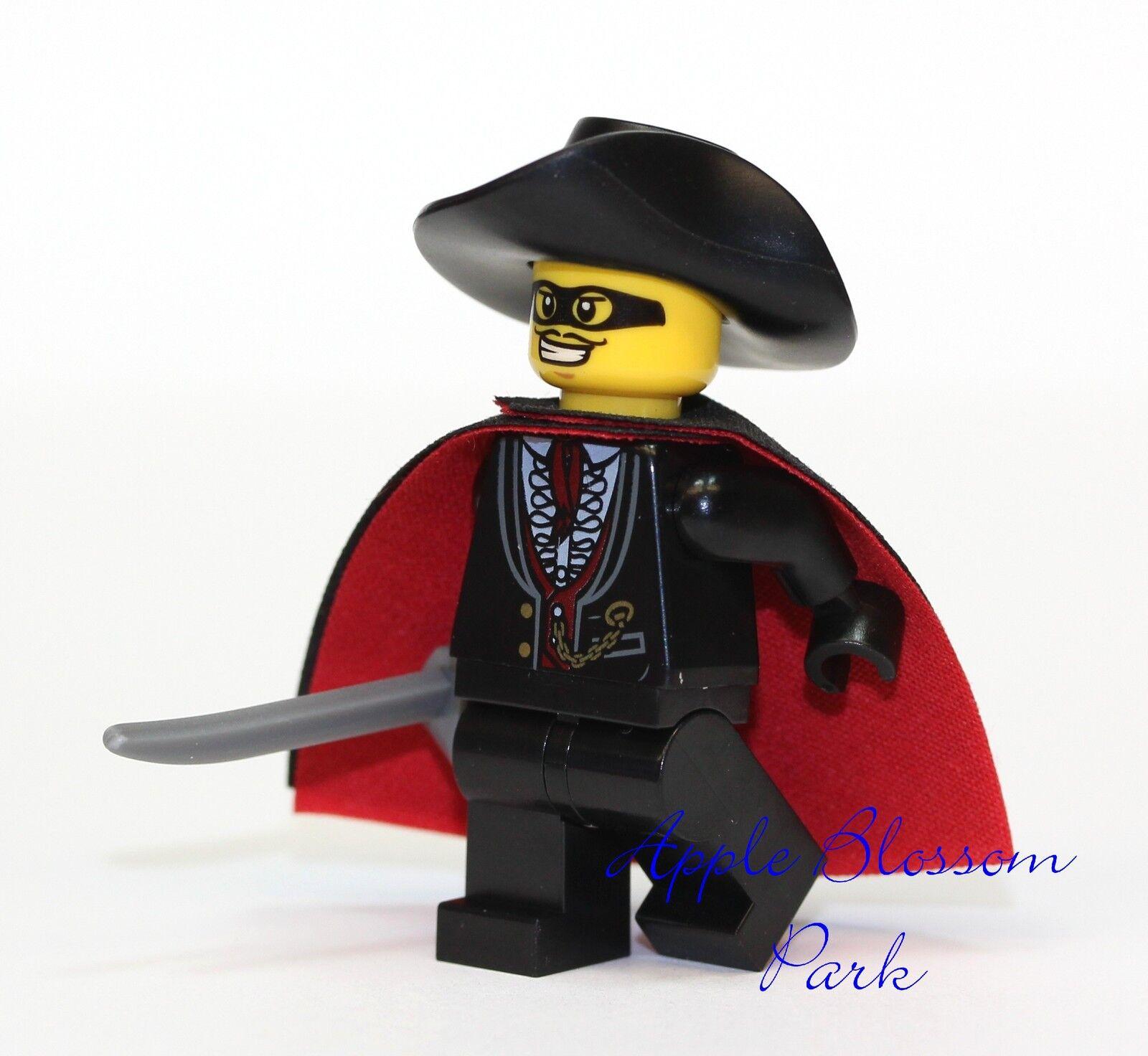 Lego Zorro Minifigure - Castle Minifig W/black Red Cape Sword & Fedora Hat