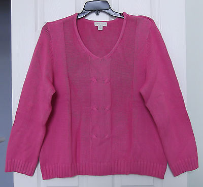 Appleseed's Size Xl Fuschia Pink V Neck Sweater, Long Sleeves, Sale