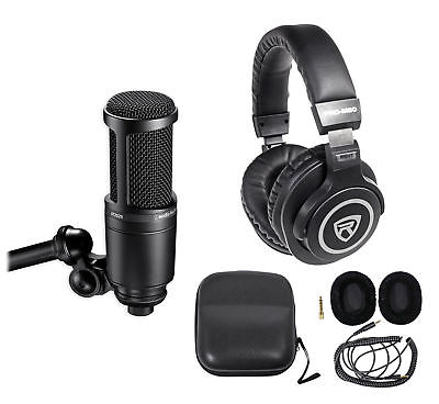 Audio Technica At2020 Studio Microphone Cardioid Condenser Mic   Headphones