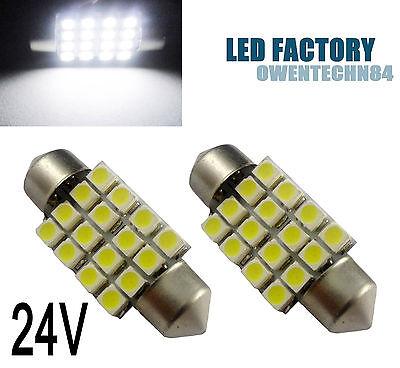 2X 36MM 6461 3425 16 SMD Car LED Interior Dome Festoon Light Bulb White  24V