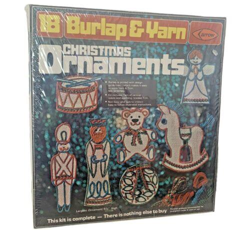 NOS Package of 18 Vintage 1975 Burlap Yarn Christmas Ornaments Kit Vintage Craft