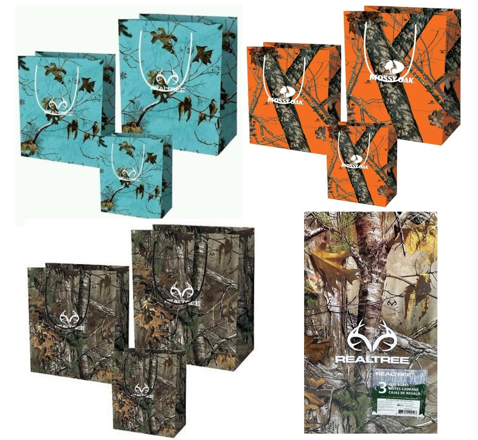 Realtree Mossy Oak Camouflage Gift Bag Sets & Boxes Holiday
