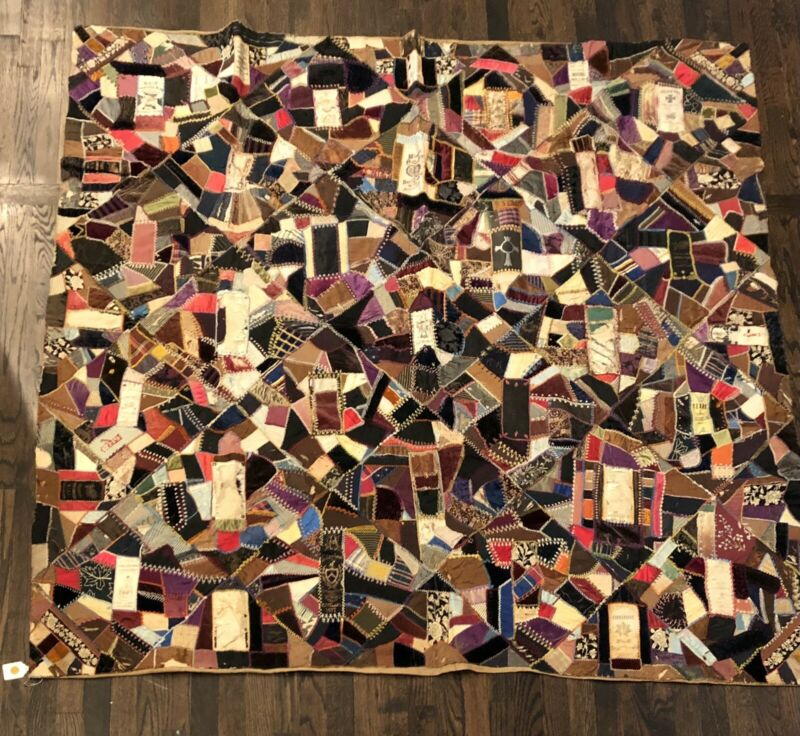 Amazing antique crazy quilt with military ribbons