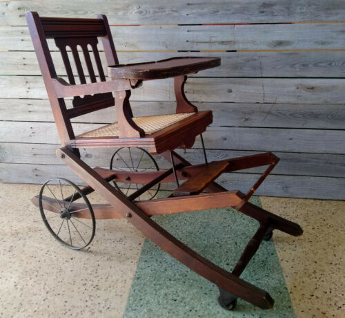 Antique Victorian Convertible High Chair Walker Stroller w/ Caned Seat