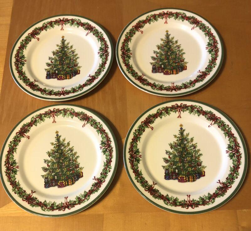 SET OF 4 CHRISTOPHER RADKO HOLIDAY CELEBRATIONS SALAD PLATES