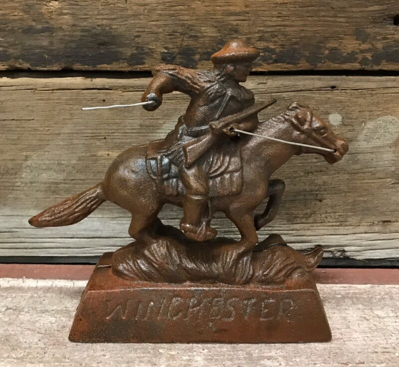 Cast Iron Winchester Rifle Cowboy Riding a Galloping Horse Figurine Model