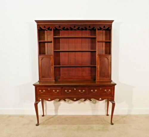 Hickory Chair Furniture Company Cherry Locking Welsh Cupboard Display Cabinet