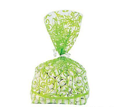 Green Cellophane (36 Lime Green Swirl cellophane Loot BAGS Wedding Party supplies favor)