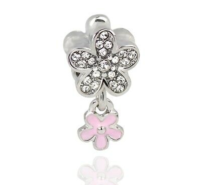 Pink Cherry Blossom Charm Dangling Flower European Bead With Clear Rhinestones Cherry Blossom Flower Bead