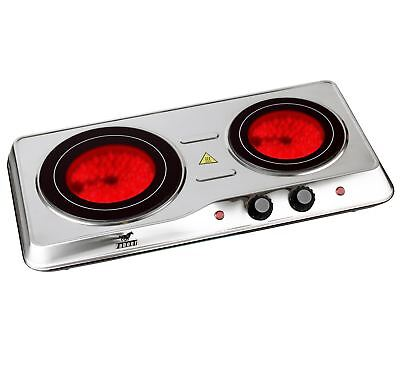 2KW Ceramic Portable Stainless Steel Infrared Electric Double Cooker Hot Plate