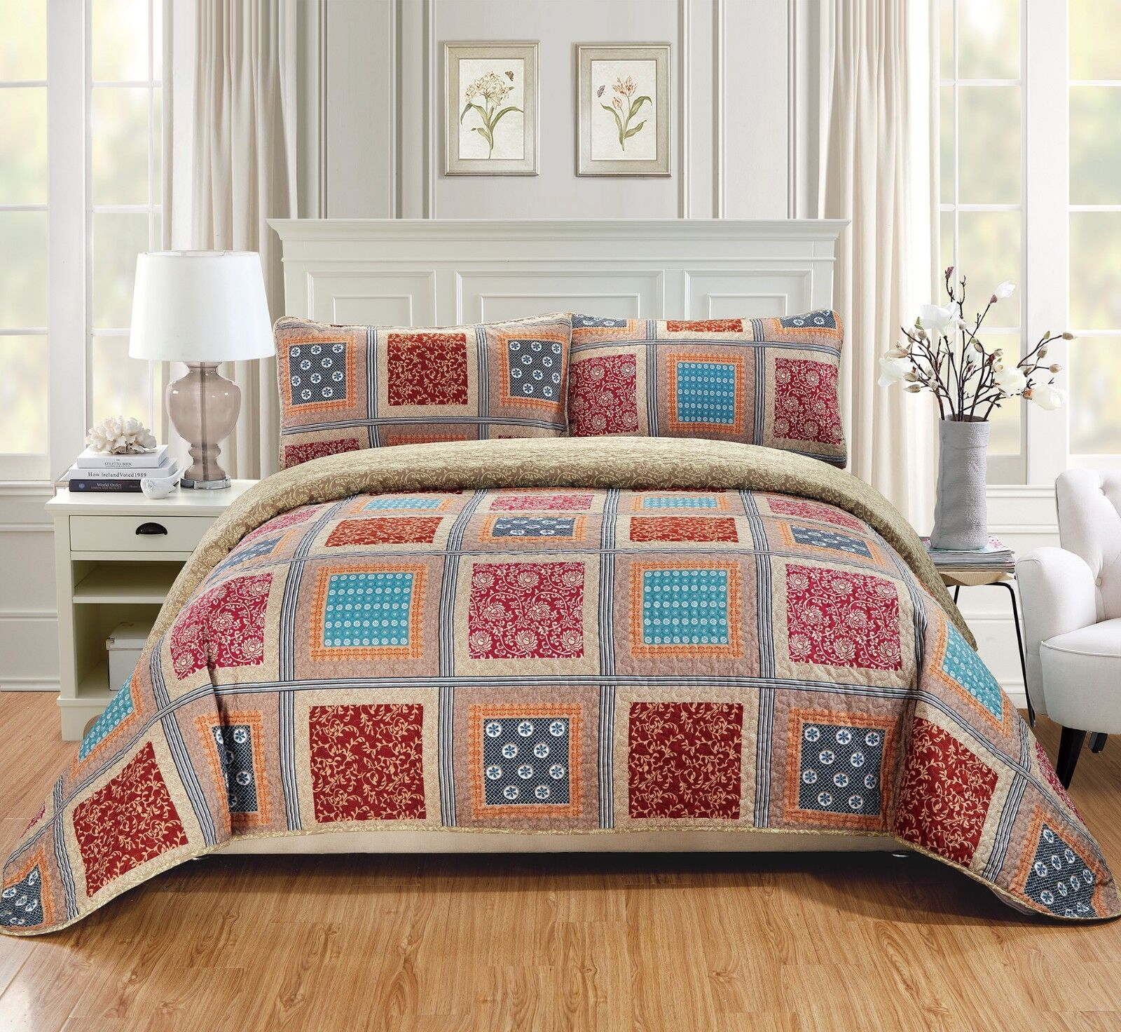 Fancy Linen Quilted Coverlet Set Patchwork Squares Beige Red