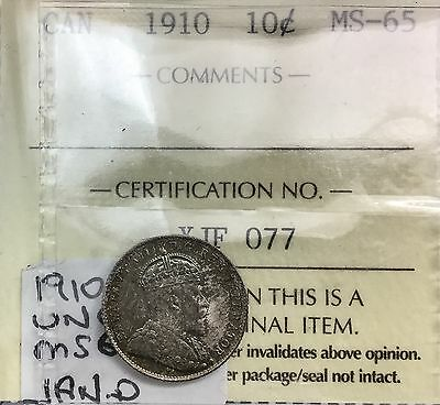 Click now to see the BUY IT NOW Price! CANADA 1910 EDWARD VII   10 CENTS MS 65 ICCS  GEM PRETTY TONED BEAUTY