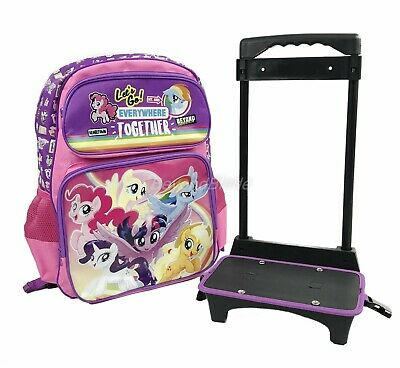 My Little Pony Purple/Pink Rolling Backpack Large School Back Pack Backpack 16