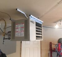 Garage Heater complete installation and unit 1999$