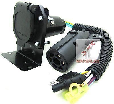 4 Flat to 7 Way RV Trailer Light Plug Wire Harness & 7 Way Trailer Plug To 4 Pin