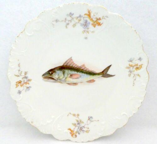 LS&S Carlsbad Austria Fish Motif Plate Lewis Strauss Son RARE Antique