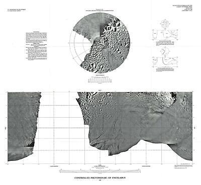 1992 U.S. Geological Survey Map or Photomosaic of Enceladus, Moon of Saturn