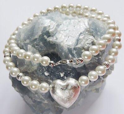Perlen Kette Silber 925 HERZ weiß Hochzeit Brautschmuck 38-40-42-45-50 cm wählen