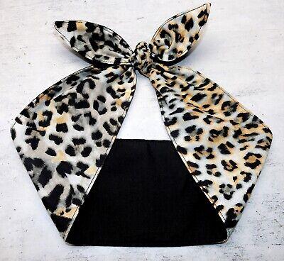 Wide Leopard Cheetah animal print headband bandana head scarf bow hair wrap