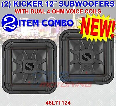 "KICKER SOLO-BARIC L7T 2400W 12"" 4 Ohm DVC SEALED OR PORTED SQUARE SUBWOOFERS (2)"