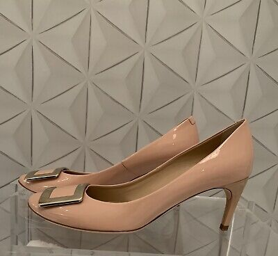 Roger Vivier - Nude Patent Leather Heels - Gold Buckle - 39.5