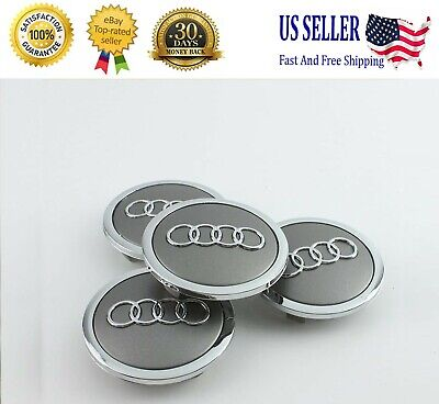 Set(4pcs) Audi 69MM Gray Chrome Wheel Rim Center Hub Caps Replacement 4B0601170A