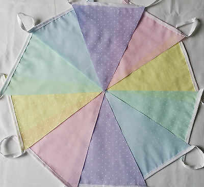 Pastel Spot Fabric Party Bunting 10ft / 3m Handmade Pink Yellow Green Blue Lilac