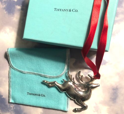Tiffany & Co Sterling Silver Reindeer Ornament New Christmas Holiday Unused Box