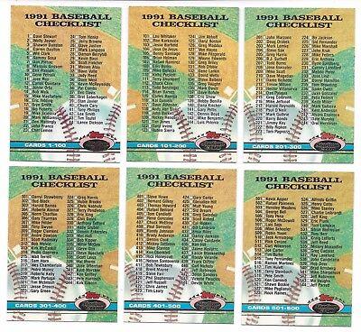 1991 Stadium Club checklist complete lot #298, 299, 300, 598, 599, 600 UNMARKED