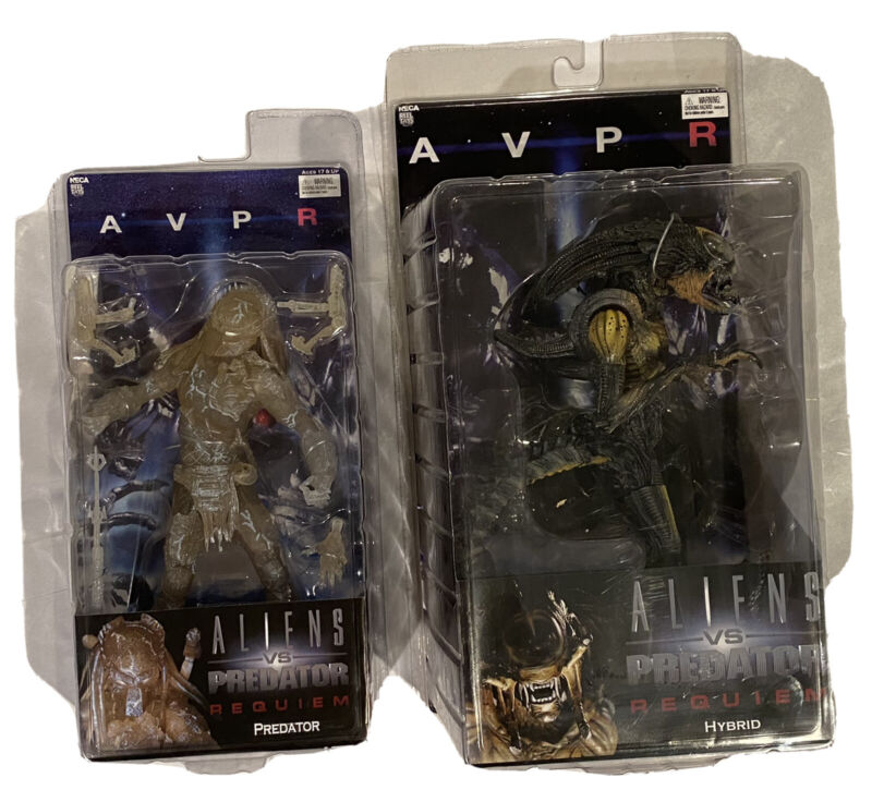 Lot Of 2 Figures AVPR Aliens Vs Predator Requiem Hybrid & Predator 2007 Sealed