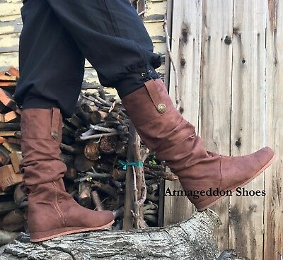 Brown Renaissance Fair Peasant Actor Basic Mens Costume Shoes Moccasins - Renaissance Peasant Shoes