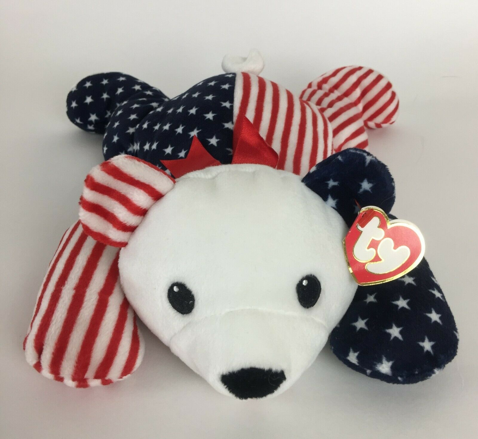 Ty Pillow Pals Sparkler Bear Plush 1999 With Tag Red White Blue Stripes Stars