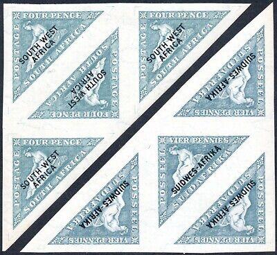 South West Africa 1926 4d triangles, English & Afrikaans blocks, SG.44A, 44B, UM
