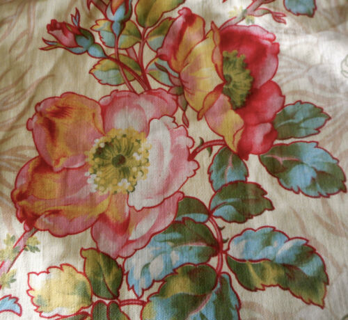 Antique French Wild Roses Floral Cotton Fabric #1~ Pink Yellow Red Blue Green