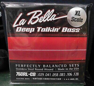 Standard La Bella 760G-CB Gold White Nylon Tape Wound Bass Guitar Strings 6
