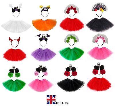 HALLOWEEN TUTU COSTUMES Cute Bat Ghost Costume Kids Toddler Girls Fancy Dress UK ()