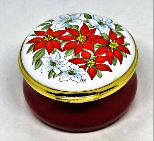 CRUMMLES ENGLISH ENAMEL BOX - CHRISTMAS FLOWERS - RED & WHITE POINSETTIAS - MIB