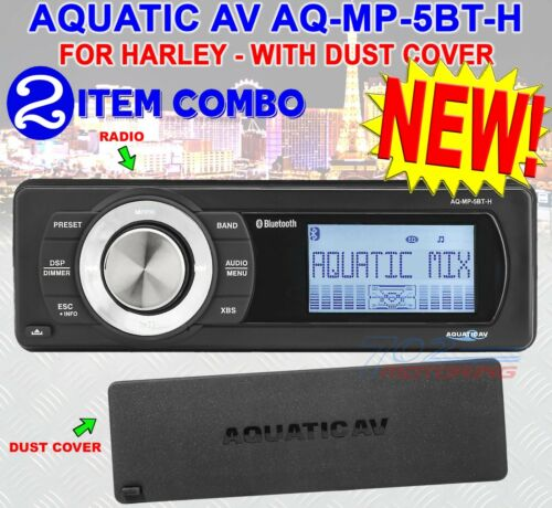 Aquatic Av For Harley Davidson Bluetooth Replace Radio Fits 98-2013  Aq-mp-5bt-h
