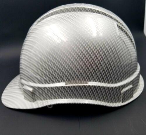 Hard Hat custom hydro dipped , OSHA approved WHITE METALLIC CARBON FIBER NEW 2