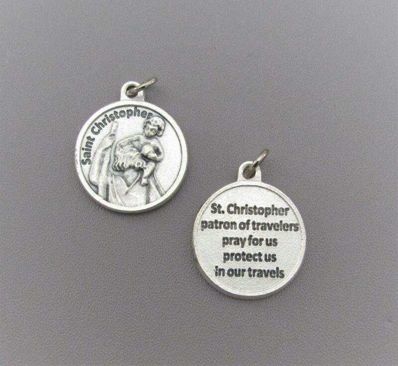 Saint St. CHRISTOPHER Charm Holy Medal ROUND w/ Prayer Patron Travel M209*