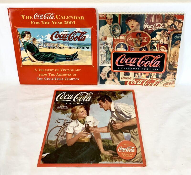 Lot of 3 Vintage 1994, 2001, 2004 Coca-Cola Coke Calendars Unused