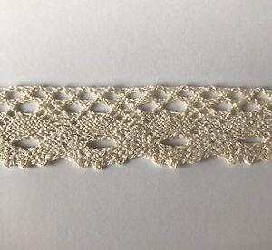 5 Yds Vintage Style Cotton Crochet Trim Lace Edge Trim Craft Off White Ivory 9v