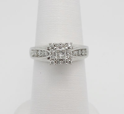 Zales 1/2CT Princess Cut Diamond Solitaire Engagement Wedding Ring 14K Gold