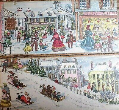 Two Vtg Sunshine Christmas Cards Victorian Scenes Village Shoppers Sleds Unused