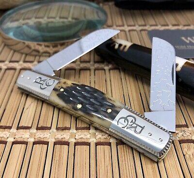 Queen Cutlery Robeson USA Amazing Custom ANTIQUE Bone Congress Pocket Knife #1/1