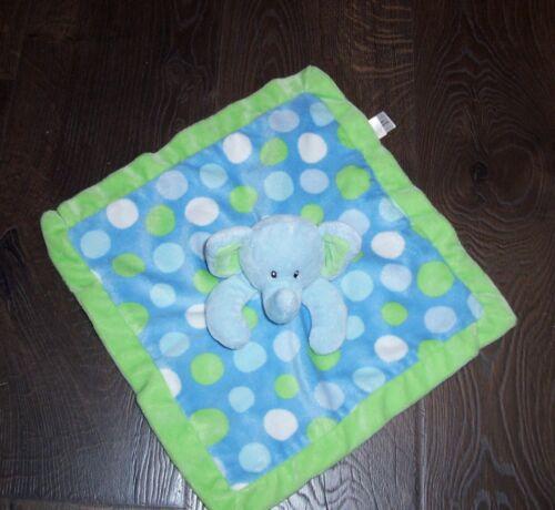 First Impressions Blue Green White Polka Dot Elephant Baby Blanket Lovey