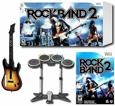 Nintendo Wii-U/Wii ROCK BAND 2 Drums + Video Game Bundle Set w/Guitar Kit hero